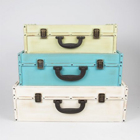 Set Of 3 Storage Trunk Suitcase Pastel