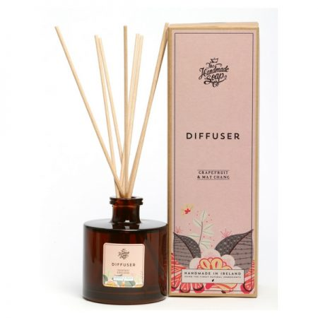 The Irish Handmade Soap Company's Grapefruit & May Chang Diffuser is zingy and uplifting. Using a completely natural diffuser base and scented with essential oils only.