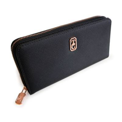 Tipperary Crystal Black Rose Gold Zip Wallet