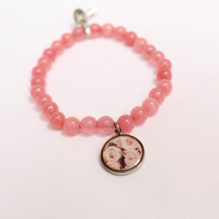 CoCo88 Rose Pink Beaded Charm Bracelet