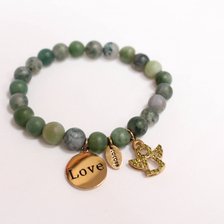 CoCo88 Forest Green Beaded Charm Bracelet