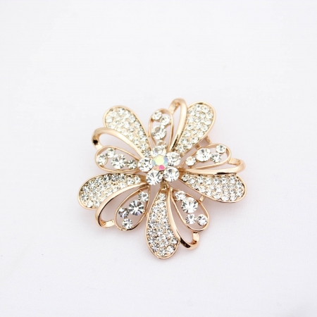 Shira Designer Flower Brooch with Diamante