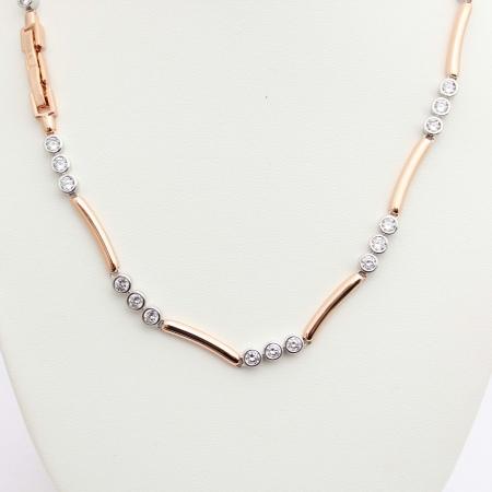 Shira Designer Rose Gold Crystal Set Necklace