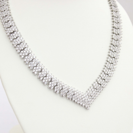 Shira White Ziconia Pave Necklace