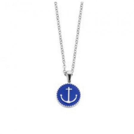 CoCo88 Blue Enameled Anchor Necklace