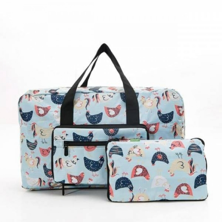 Eco chic Foldable Holdall Blue Chicken