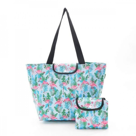 Eco chic Foldable Large Cool Bag with Flamingo