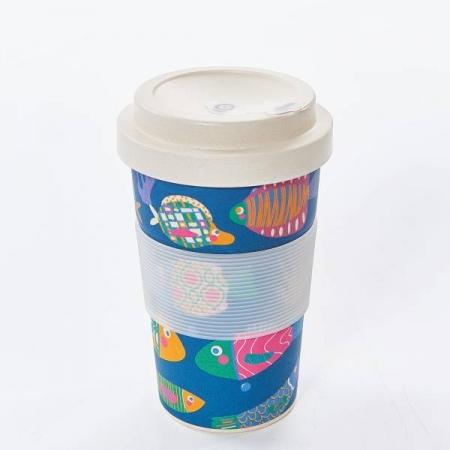 Eco Chic Blue Tropical Fish Bamboo Travel Mug