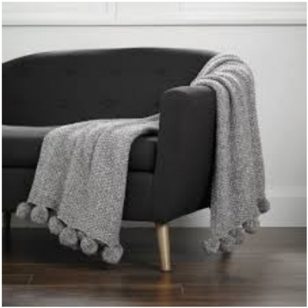 Cosy Knit Throw With Pom-Pom From Walton Lifestyle