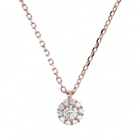 Bronzallure Cubic Zirconia Solitaire Necklace In Rose Gold Plate
