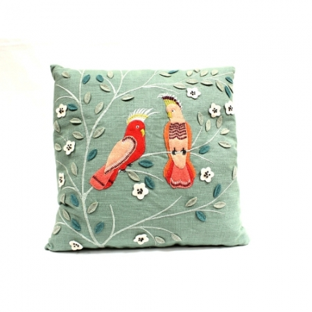 Tropical Parrot Linen Mix Cushion From Walton Lifestyle