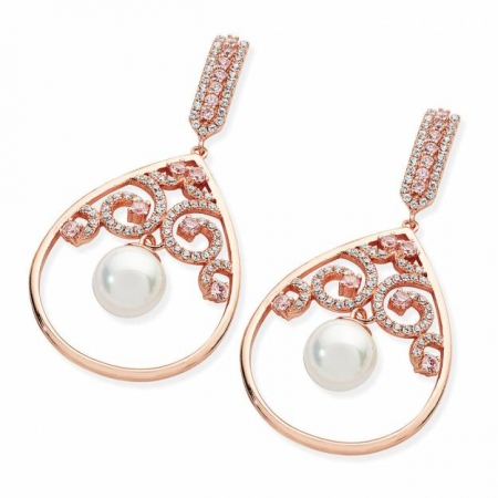 Tipperary Crystal Ornate Earrings With Pearl Drop