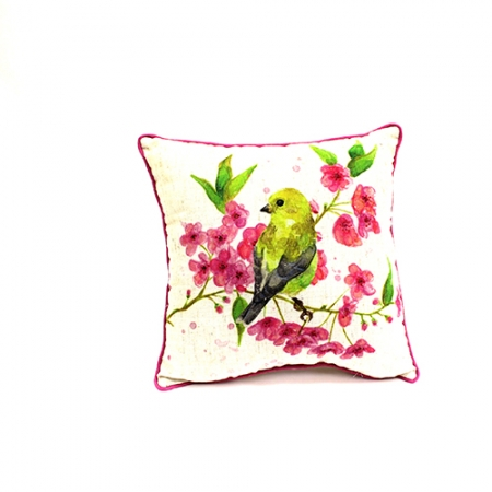 Yellow Tit Bird On A Cherry Blossom Branch Cushion