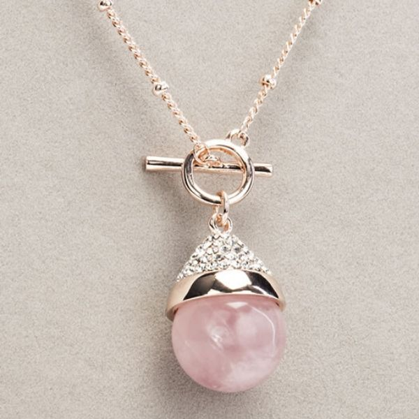 Crystal quartz t bar necklace